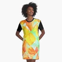 """Yellow Orange and Green Colorful Abstract Geometric Marble Pattern "" Graphic T-Shirt Dress by ppanda 