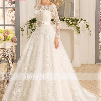 New Designer Luxury Boat Neck Long Sleeve Lace A Line Wedding Dress 2016 Cheap Appliques Beaded Sashes Robe De Mariage Plus Size