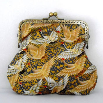 Migrating cranes purse / duck egg blue / metallic gold / cream / bird print / gift / cotton / feather print / lined / bronze / clasp purse