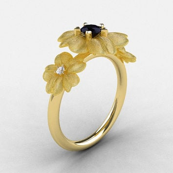 18K Yellow Gold Black Diamond Flower Wedding Ring, Engagement Ring NN107-18KYGDBD