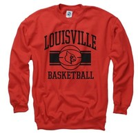 Louisville Cardinals Red Wide Stripe Basketball Crewneck Sweatshirt