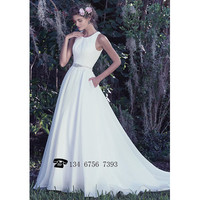 2017 New White A-Line Weeding Dress Brilliant Beaded Sashes With Button Long Dress For Weeding Sexy Backless Cheap Weeding Gowns