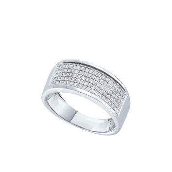 Sterling Silver Womens Round Diamond Five Row Wedding Band 1/3 Cttw 56201