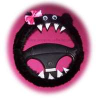 Fuzzy Black faux fur monster car steering wheel cover with cute pink bow fluffy furry fun