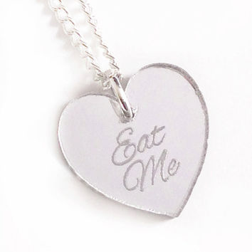 Eat Me Silver Heart Necklace