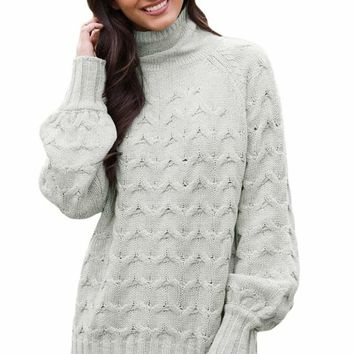Grey Cable Knit High Neck Sweater for Women