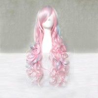 Dream2reality Cosplay_curly_80cm_blue pink hybrid_Japanese kanekalon wigs