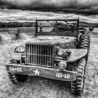 WW2 Command  Jeep, Fine Art Photography, Black and White Photography