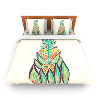 "Pom Graphic Design ""Tribal Feather"" Green Orange Fleece Duvet Cover"