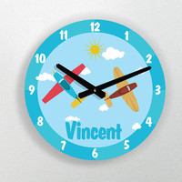 """PERSONALIZED CLOCK for nursery- airplanes in the sky with name - 11"""" Diameter - 1/4 """" thick"""