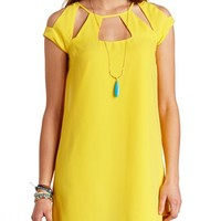 CUT-OUT CHIFFON SHIFT DRESS