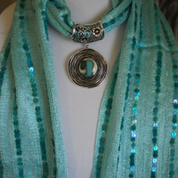 Fused Glass Jeweled Scarf Slide with matching scarf