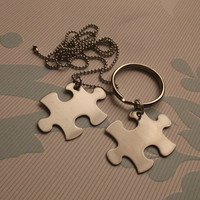 puzzle piece set stainless steel blanks necklace key chain his hers customize