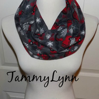 Charcoal Gray Cardinal Flannel Infinity Scarf Christmas Red Birds Winter White Snowflakes and Branches Women's Accessories