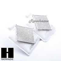 Iced Out Sterling Silver .925 Lab Diamond 17mm Square Screw Back Earring SE009S