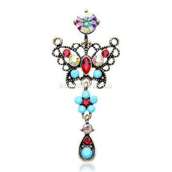 Vintage Boho Glistening Butterfly Flower Reverse Belly Button Ring (Brass/Aurora Borealis/Turquoise)