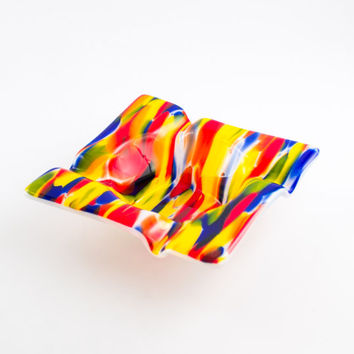 Cool Ashtray, Multi Color, Fused Glass, Cigar Ash Tray, Smoking Accessories, Cigar Gifts, Smoking Bowl, Cigarette Tray, Hipster Home Decor