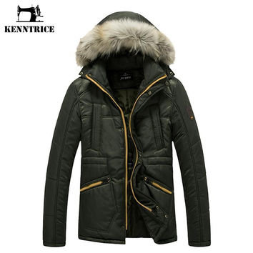 Winter Army Green Parka Jacket Men's Coat With Faux Fur Hood Warm Cotton Padded Jacket Male Thicken Coat Hooded