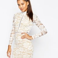 Naanaa High Neck Lace Dress with Open Back at asos.com