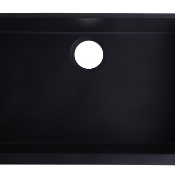 "ALFI brand AB3020UM-BLA Black 30"" Undermount Single Bowl Granite Composite Kitchen Sink"