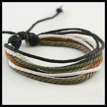 Handmade Hemp Bracelet Multi Color Wrap Braclet Men's Women's Vegan Friendship BST-364