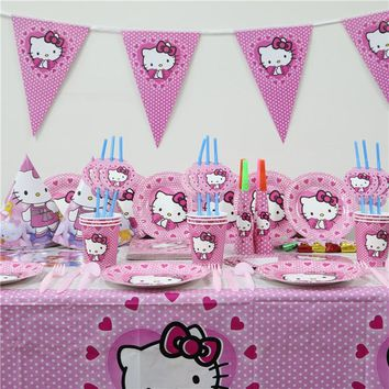 80pcs/lot Kids Birthday Party Decoration tablecloth paper plate cups napkin banners cartoon hello kitty Supplies for 6 person