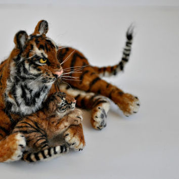 Needle Felted   Animal- Tiger  mother and cab Soft sculpture-Collectible artist animals. Made to order