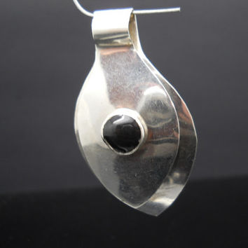Onyx Pendant Sterling Silver Teardrop Split Modernist Design Mexico 925 HOB