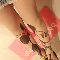 ROMWE | Spliced Mickey Mouse Tattoos Tights, The Latest Street Fashion