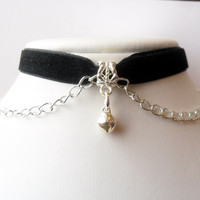 "Velvet choker necklace jingle bell choker Black with kitty bell charm and a width of 3/8"" Ribbon Choker Necklace(pick your neck size)"