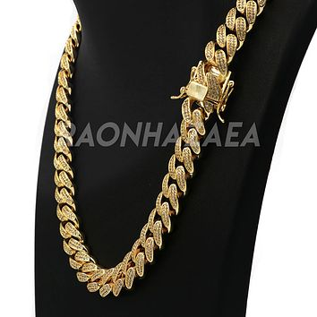 18K Yellow Gold Iced Out CUBAN Miami Chain Link MicroPave Lab Diamond Necklace