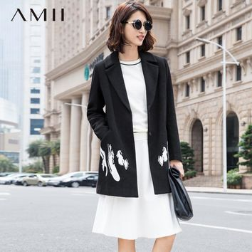 Casual Minimalist Women Woolen Coat Winter Embroidery Turn-down Collar Covered Button Female Wool Blends