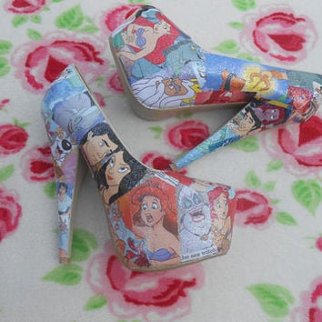 The Little Mermaid Disney Princess Decoupage Glitter Story Book Heels