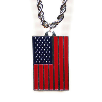 American Flag Necklace, Patriotic Necklace, USA Flag, Mens Necklace