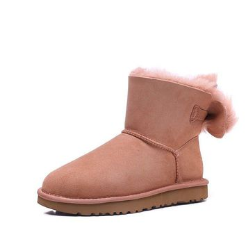SPBEST UGG winter new lady snow boots classic novelty series bow mini boots 1094967 light PINK