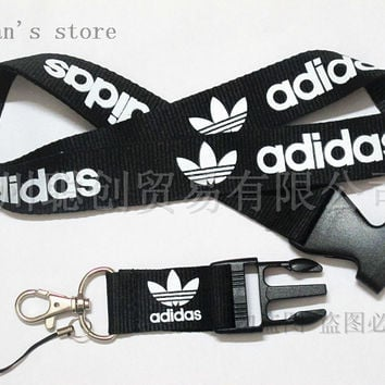 ONE PC Men Black Original Sport Logo  Lanyard  for ID Badge Holders