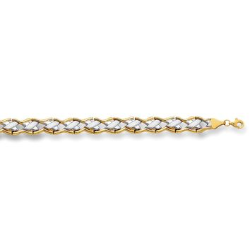 """14k Yellow And White Gold Hugs And Kisses  Link Bracelet, 7,25"""""""