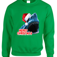 Adult Crewneck Santa Jaws Merry Christmas Ugly Xmas Funny Top