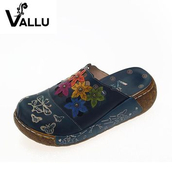 2017 Handmade Women Slippers Genuine Leather Women Shoes Slides Closed Toes Flower Platform Sandals