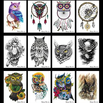 12PCS/lot Taty Large Temporary Tattoos Body Art Men Women Fashio Owl Tattoo Colored Paper Zodiac Flowers Wolf Tattoo Sticker