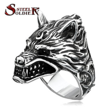 Steel soldier arrival Game Of Throne House Stark of Winterfell Dire wolf Wolf Ring Cool Gift For Boyfriend BR8-160