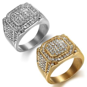 HIP Hop silver Micro Pave Rhinestone Iced Out Bling Big Square Ring IP Gold Filled Stainless Steel Rings for Men Jewelry