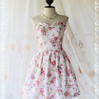 A Lovely Queen - Strapless Classic Cocktail Dress Light Cream Playful Glamorous Floral Print Giant Bow Party Night Prom Wedding Bridesmaid