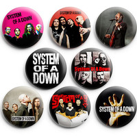 System of a Down Pinback Buttons Badge 1.25 inch (Set of 8) NEW