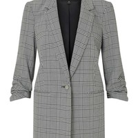 Ruched Sleeve Checked Blazer - View All - New In