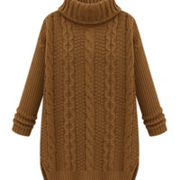 Longline Turtle Neck Long Sleeves Sweater