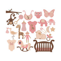 Digital Sweet Baby Girl Clip Art, Baby Clipart, Light Pink Beige Brown, Baby Shower Graphics Illustrations Images, Birthday Clip art