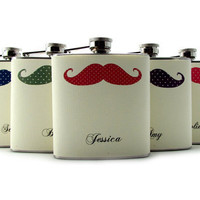 Mustache Flasks for Bridesmaids Liquor Flask by thehairofthedog