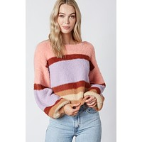 Slight Crop Fuzzy Multi Colored Coral Sweater