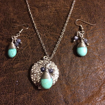 Silver Locket with Turquoise Pendant Essential Oil Diffuseramd Matchcing Turquoise Hypoallergenic Earrings~Diffuser Jewlery Set